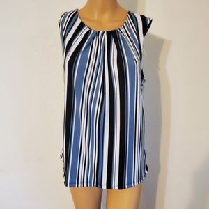 Jones New York blue and white striped blouse